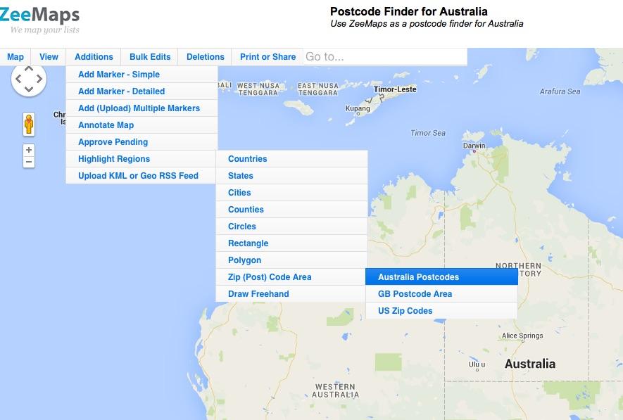 Select Additions -> Highlight Regions -> Zip (Post) Codes -> Australia Postcodes