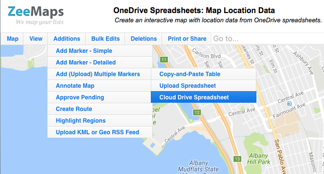 Upload Data from OneDrive Spreadsheet to a a map