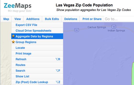 Spatial Data Aggregate Map Menu