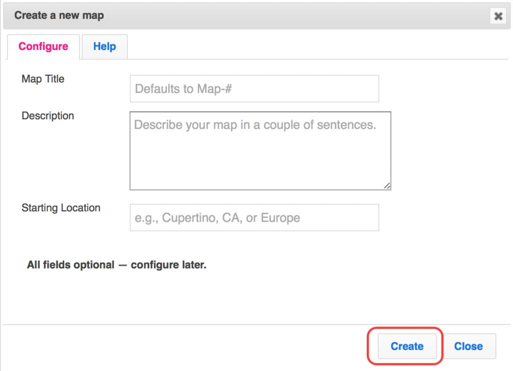 Create a map configuration in ZeeMaps