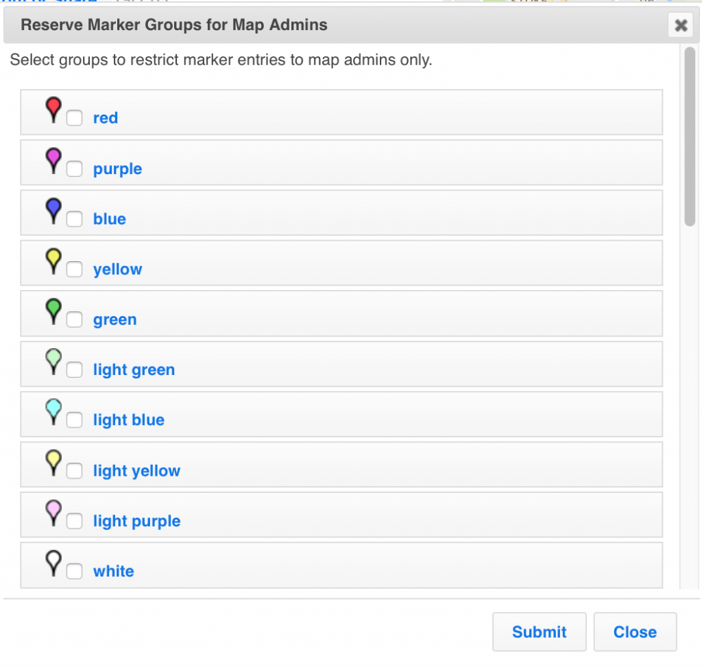 Reserve marker groups for ZeeMaps admins